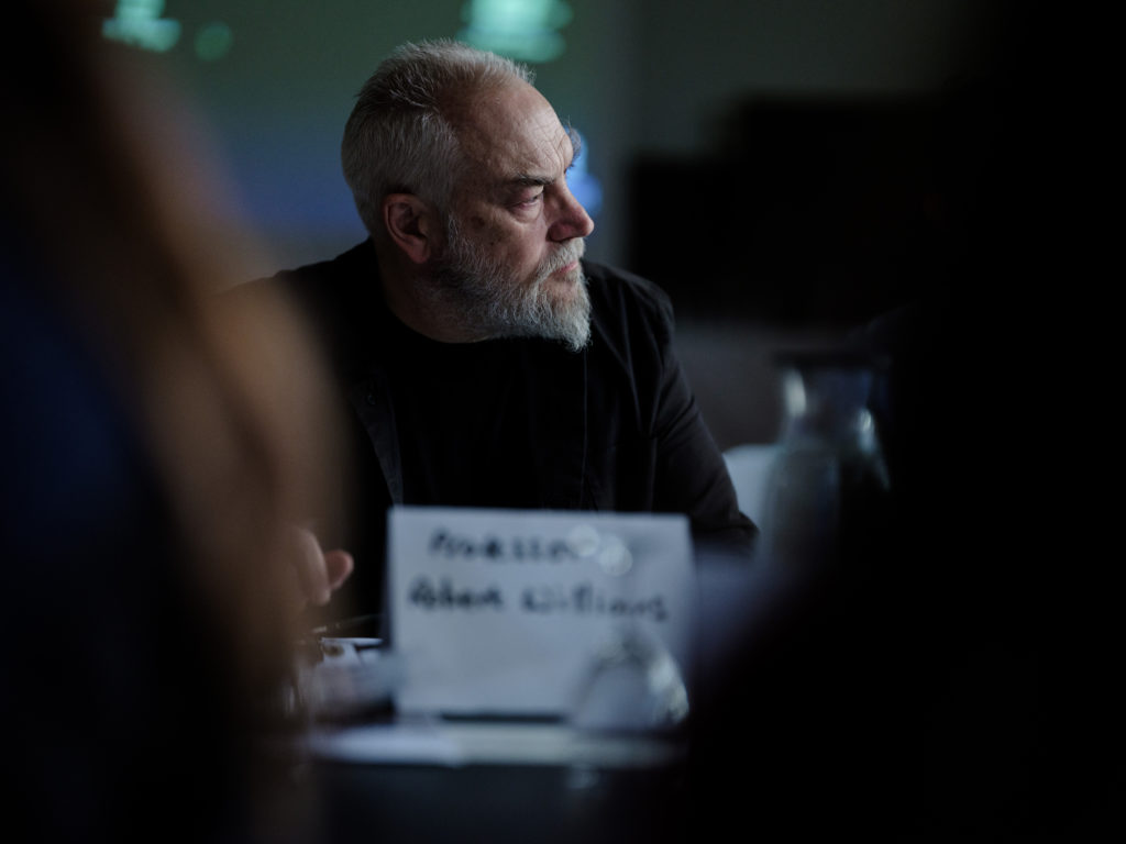 Robert Williams, chairing the table 'Deep Time communication through long term projection'. Nuclear Culture Roundtable, 17 November 2017, Z33. © ONDRAF/NIRAS, photography by Buket Dorbar.