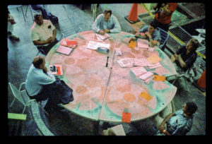 James Acord at his roundtable, Hanford site USA, 1999.